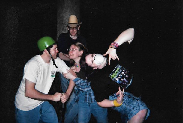The only known photograph of the band Wes Nile, 2003